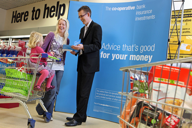 Co-Operative supermarket financial assistance for customers.