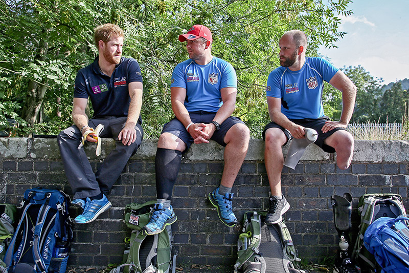 Walking With The Wounded Walk of Britain HRH Prince Harry, Alec Robotham and Matt Fisher